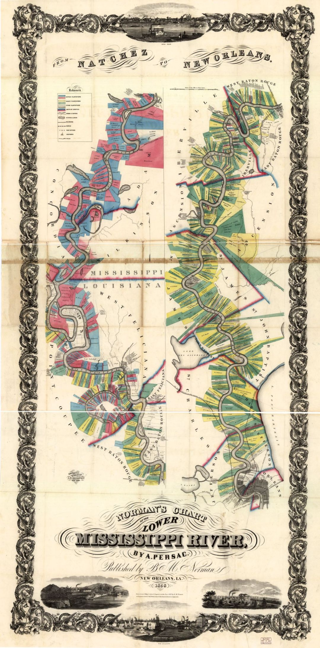 Normans Chart - Louisiana's River Road Plantations
