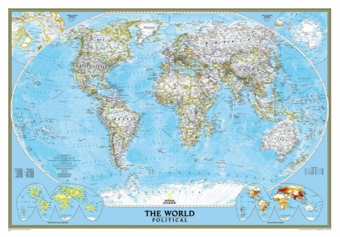 world political standard blue ocean lg - How to Hang a National Geographic World Map Mural