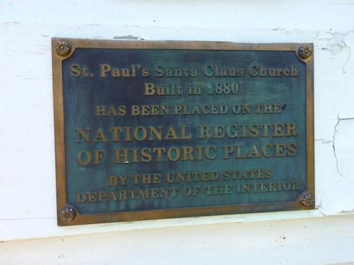 Santa Claus Church Historical Sign