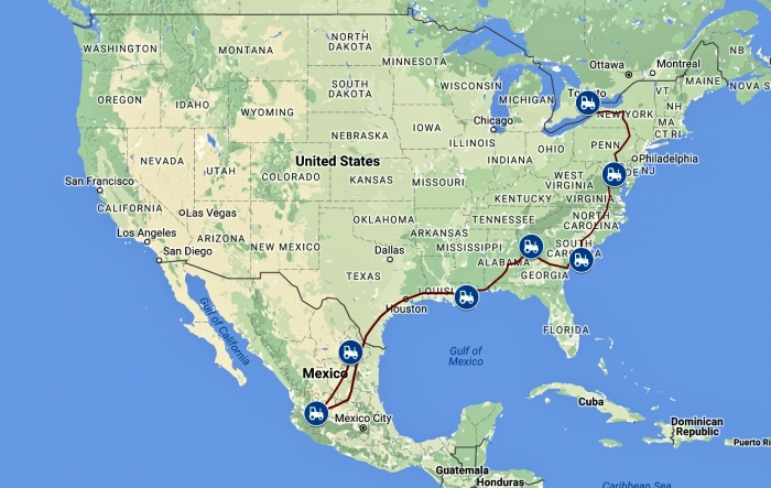 route - Transcontinental: An Epic Drive to Canada from Mexico