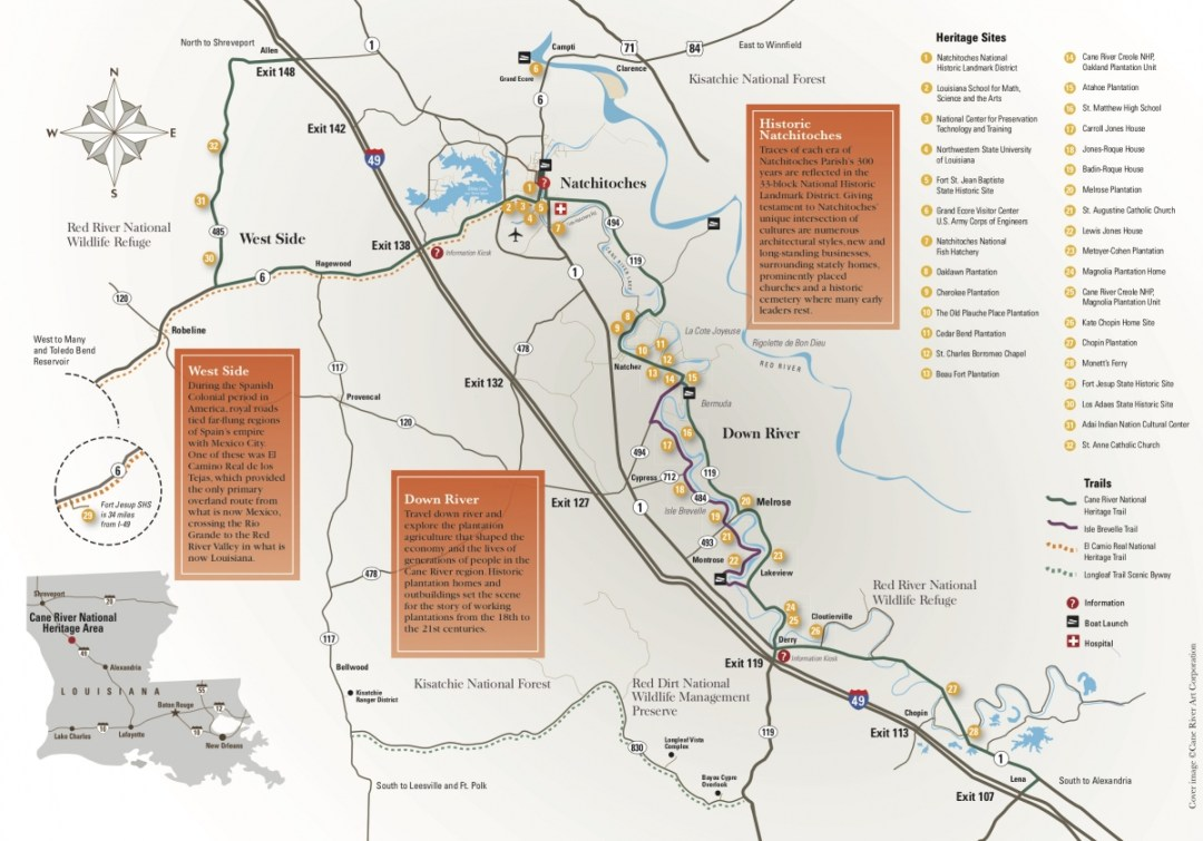 Cane River Map - Natchitoches, Louisiana & the Cane River National Heritage Trail