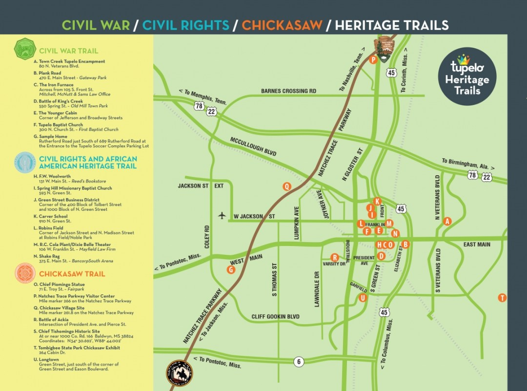 Tupelo Trails Map - Brices Crossroads & Tupelo National Battlefield: Mississippi's Final Stands