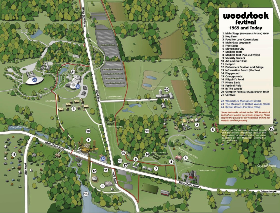 Woodstock Site Map 1 - Retaking Woodstock: The Museum at Bethel Woods