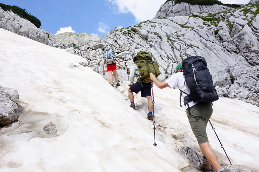 Hiking up a snowy section - Roadtripping, Hiking & Camping Montenegro Best Places