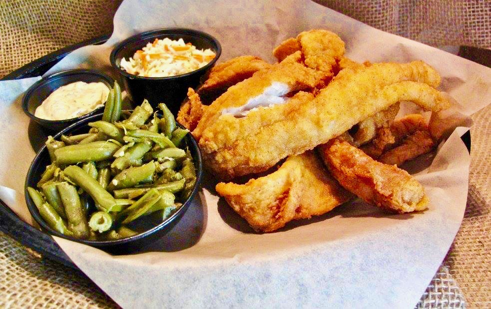 Fishin Pig Shortys Fried Fish Basket with Green Beans and Slaw - 10 Popular Craft Breweries & Restaurants in Waynesboro Virginia