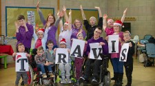 SBH Scotland staff and children celebrating Travis Del Amitri Christmas single