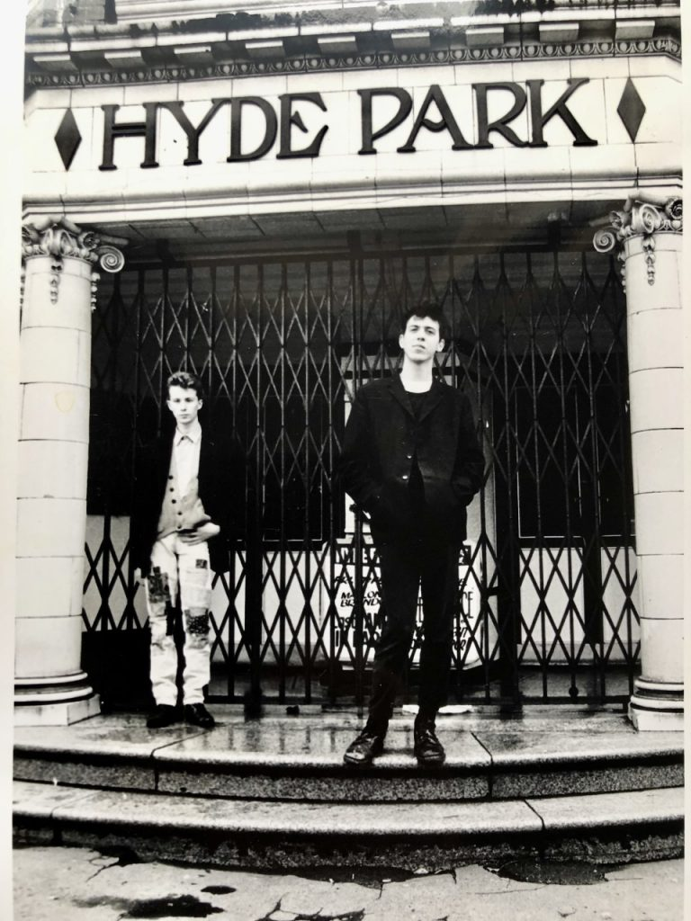 The first, two-piece incarnation of Edsel Auctioneer, snapped outside Hyde Park Picturehouse, Leeds, just before their first Peel Session in 1988. Picture: Cathh Hague