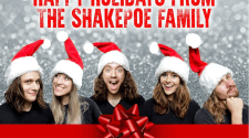 """Image showing ShakePoe wearing Santa hats with the text """"Happy holidays from the ShakePoe family"""""""