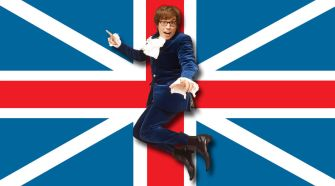 Austin Powers in-front of a Union Jack