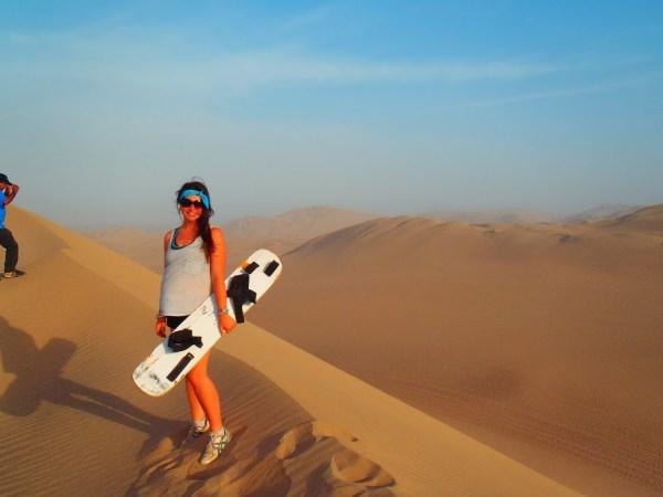 Sandboarding in the Peruvian desert
