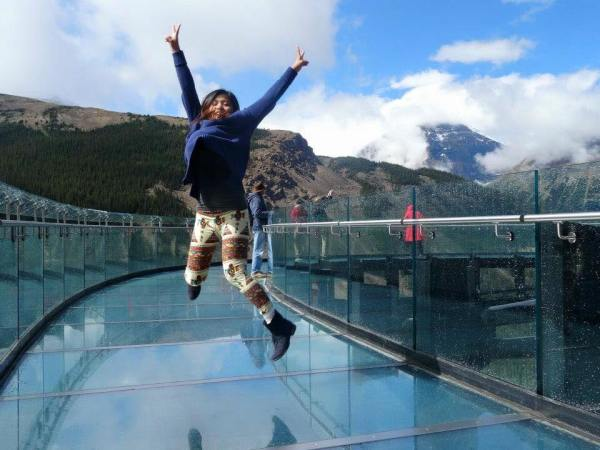 Justine at the Glacier Skywalk in AB, Canada