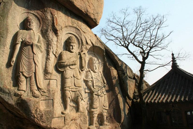 Buddhist Monk carvings in the mountain at seokbulsa Korea