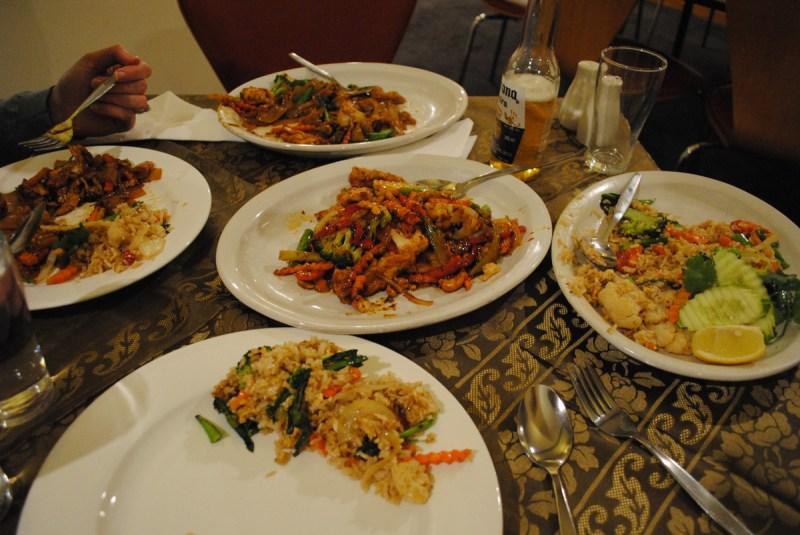 Dinner at Alice's Thai in the Victoria Hotel, Melbourne