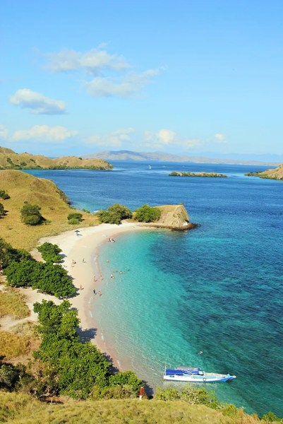 Pink Beach from the lookout, Komodo Island, Indonesia