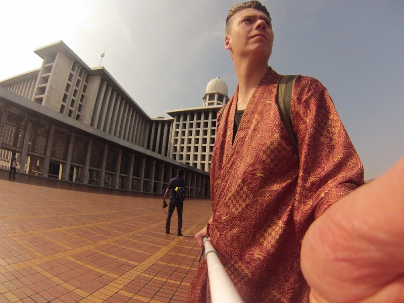 Rocking the robe in the Istiqlal Mosque Jakarta