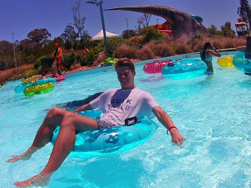 Luke in the Wet n Wild Sydney lazy river