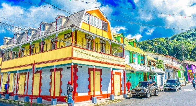 The colourful main street of Soufriere St Lucia