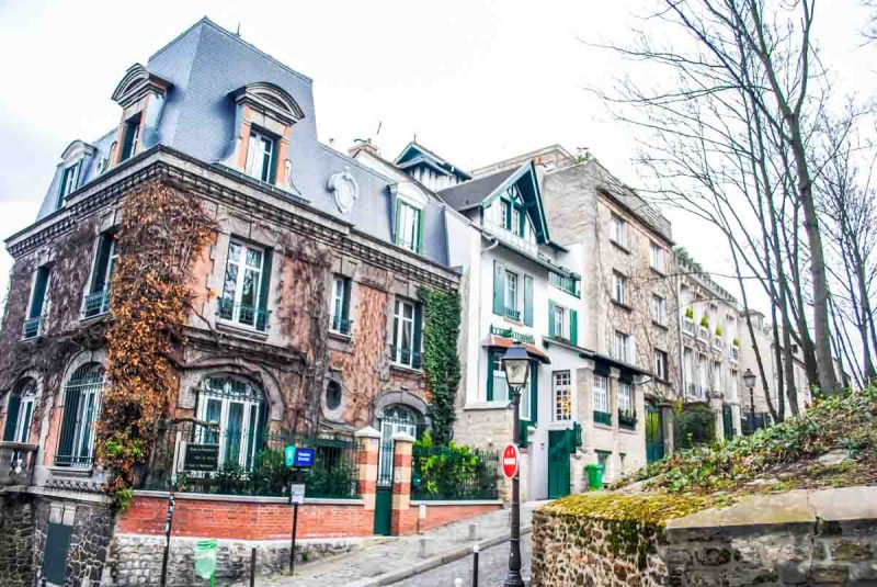 Beautiful houses in the Montemarte area near the Sacre Coeur Area Paris.