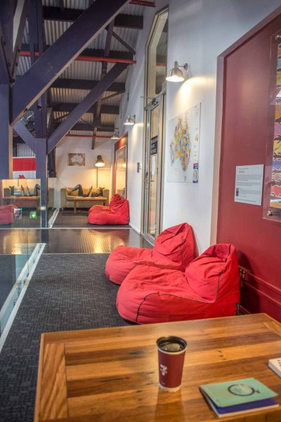 Beanbags in the hallways at Railway Square YHA
