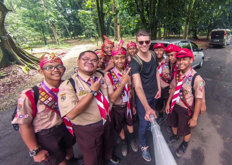 Selfies with School kids in Bogor Botanical Gardens Indonesia