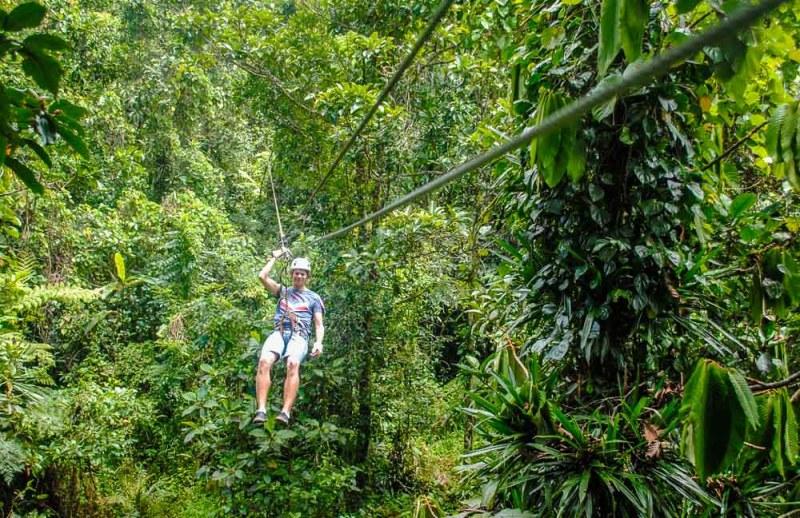 Zip lining through the jungle in Fiji