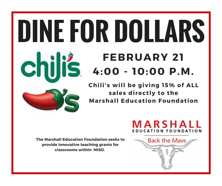 come support marshall education foundation at chilis marshall