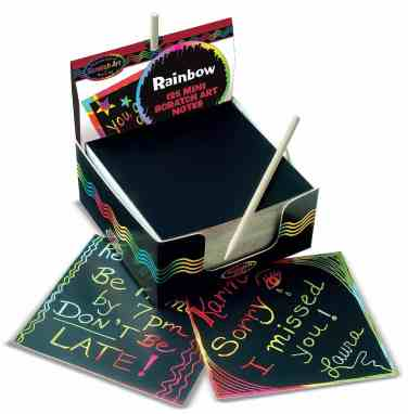 Scratch Art Rainbow Mini Notes make a great stocking stuffer for girls.