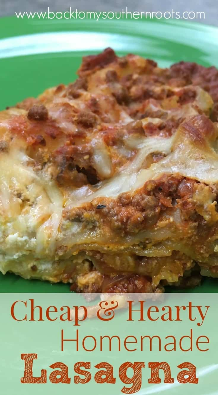 If you're looking for a delicious meal that will feed and fill up your hungry family for a small amount, try this cheap hearty homemade beef lasagna. The recipe is enough for more than one meal, keeping money in your pocket.