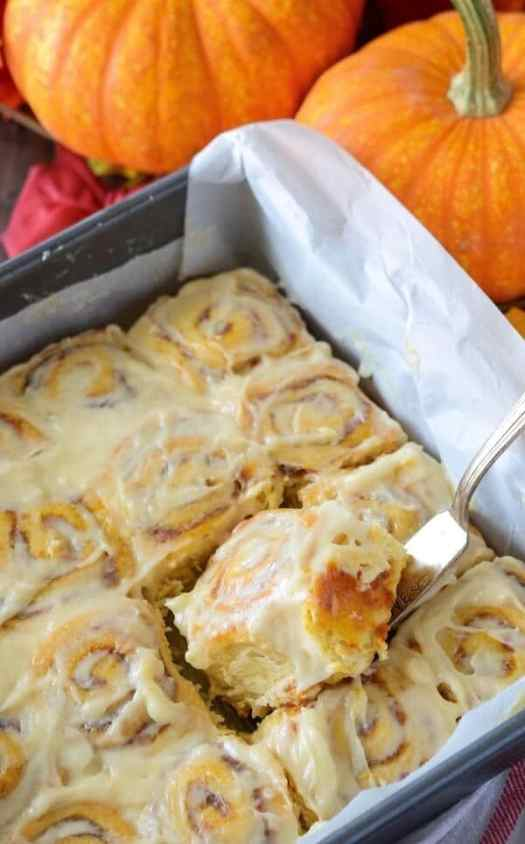 Pumpkin Cinnamon Rolls - The Novice Chef