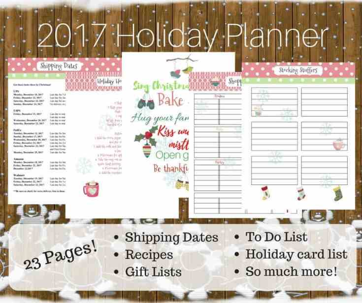 Packed full of holiday organizing printables, this holiday planner will get you through the 2017 Christmas season with ease. Download it and print it out today!