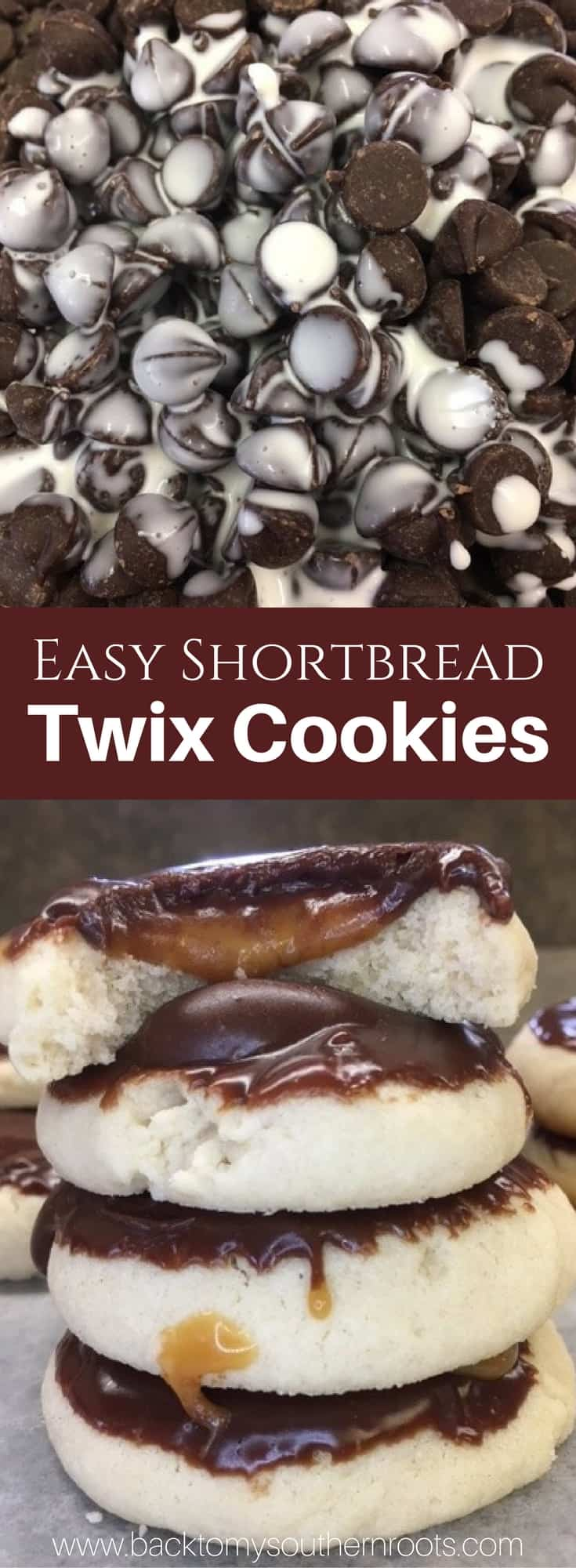 I love Twix candy bars, and I love these easy shortbread Twix Thumbprint Cookies. They taste just like the candy bar and are super easy to make.