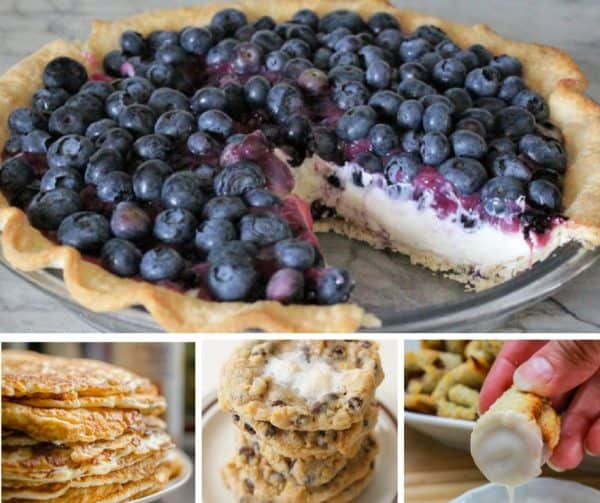 Foodie Friday Link Party #45 with Blueberry Cheesecake Pie, Cornflake Marshmallow Cookies, Apple Oatmeal Pancakes, and Mini Cinnamon Roll Bites