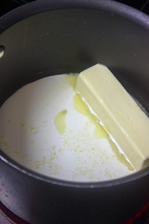 Picture of butter melting in a saucepan.