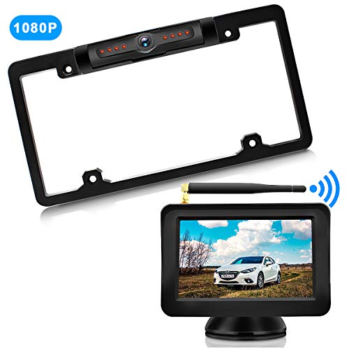 HD 170 Degrees Angle View Universal Wireless Rear View Camera IP69K Waterproof Night Vision Calmoor License Plate Back-up Camera with 5 Digital Monitor Simple Installation