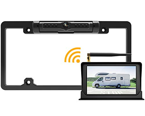 "Built-in Wireless 5/"" LCD Car Rear View Monitor 170° License Plate Backup Camera"