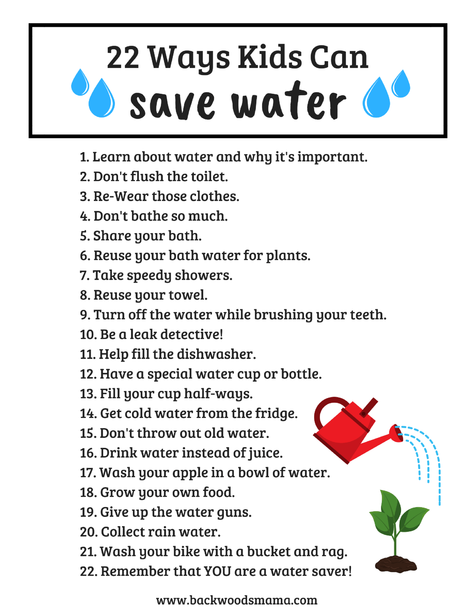 22 Ways Kids Can Save Water Backwoods Mama
