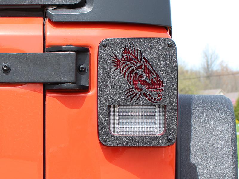 Jeep JK Tail Light Covers 07 17 Wrangler JK Black Textured Powdercoat  Fishbone Offroad