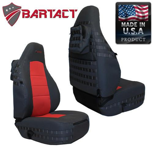 Jeep TJ Seat Covers Front 97-02 Wrangler TJ Tactical Series Black/Blue Bartact