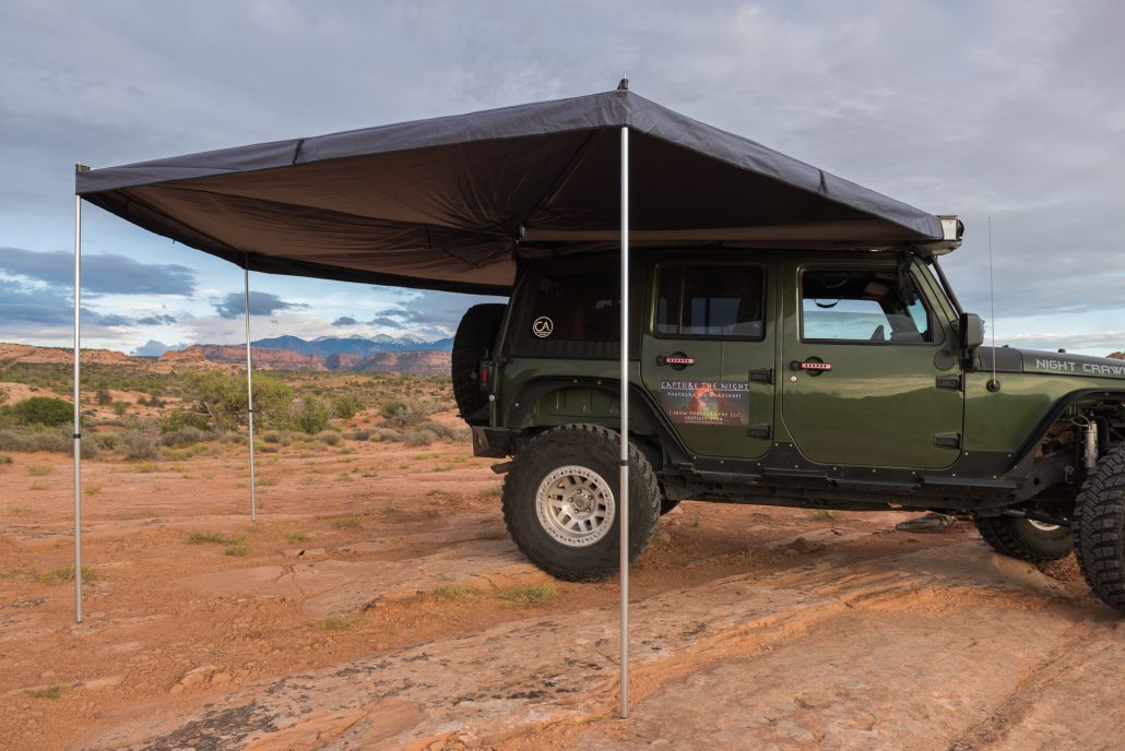 wingspan portal awning roof top mounted gray roofnest backwoods