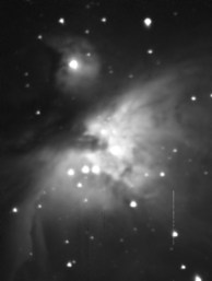 The Orion Nebula through Telescope @ 15 second exposure rate, DSI Pro