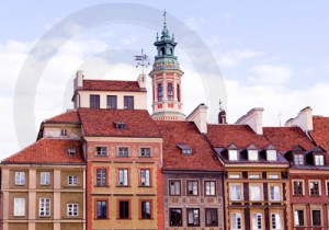 Old colorful houses in Warsaw
