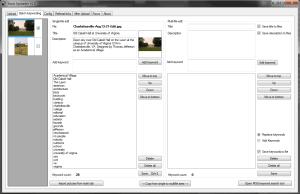 Keywording tab of StockUploader for stock agency uploads
