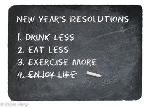 New Years resolution concept using chalk on slate blackboard