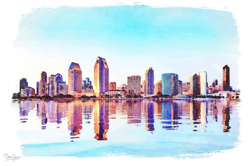 Digital watercolor print of the skyline of San Diego at sunset