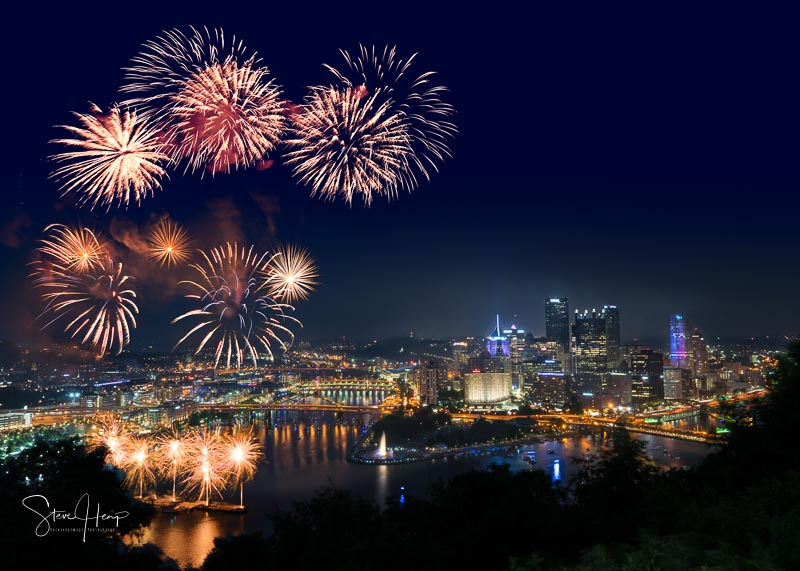 Fireworks for Independence Day over Pittsburgh