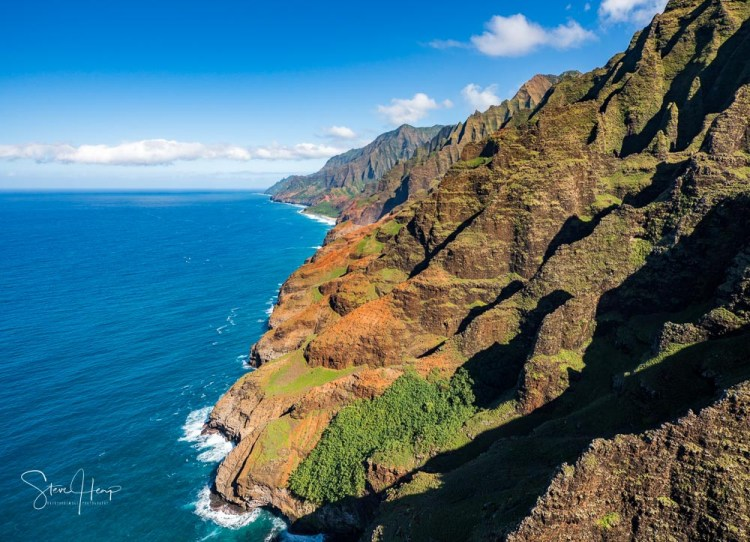 Helicopter aerial view of the Na Pali coastline of Kauai