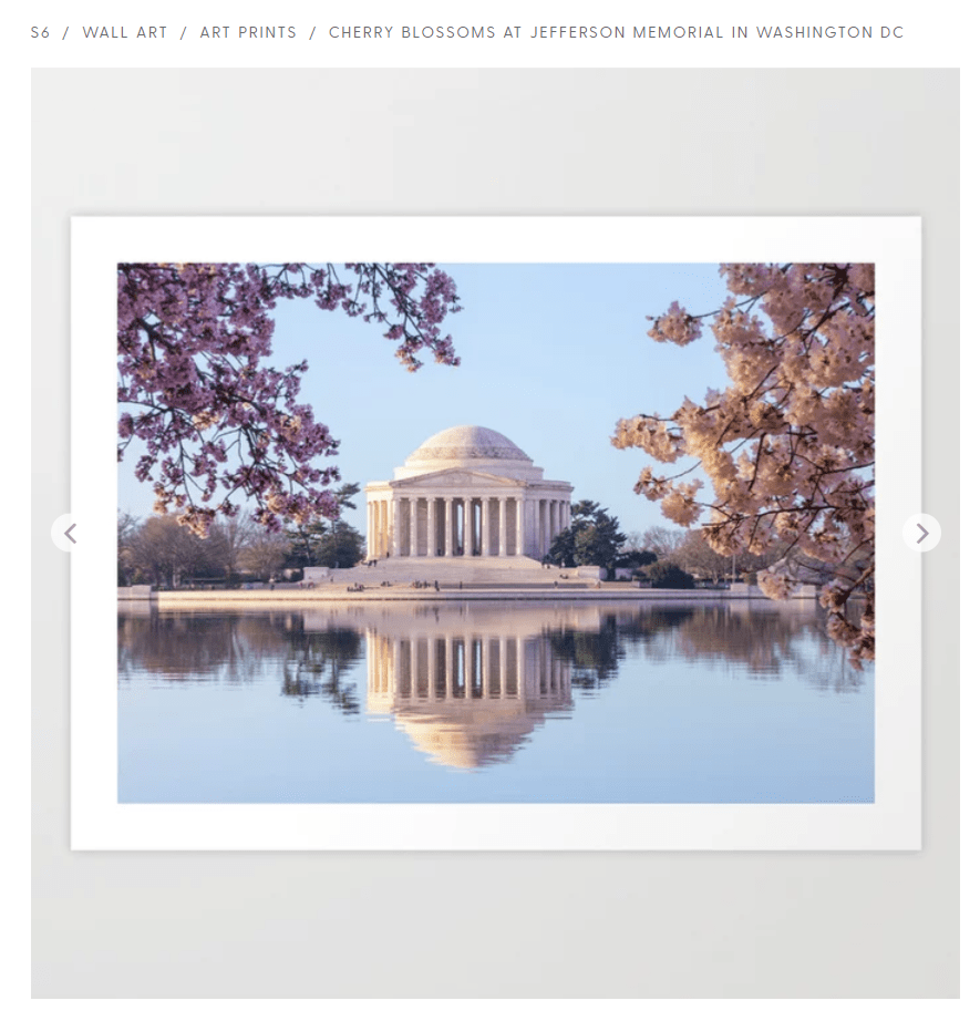 Art print of the Jefferson Memorial in Washington DC at Cherry Blossom Festival time. Sold on Society6.