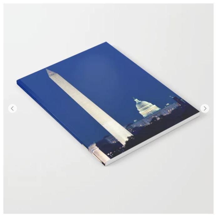 Harvest moon over Washington DC monuments recently sold on notebooks on Society6