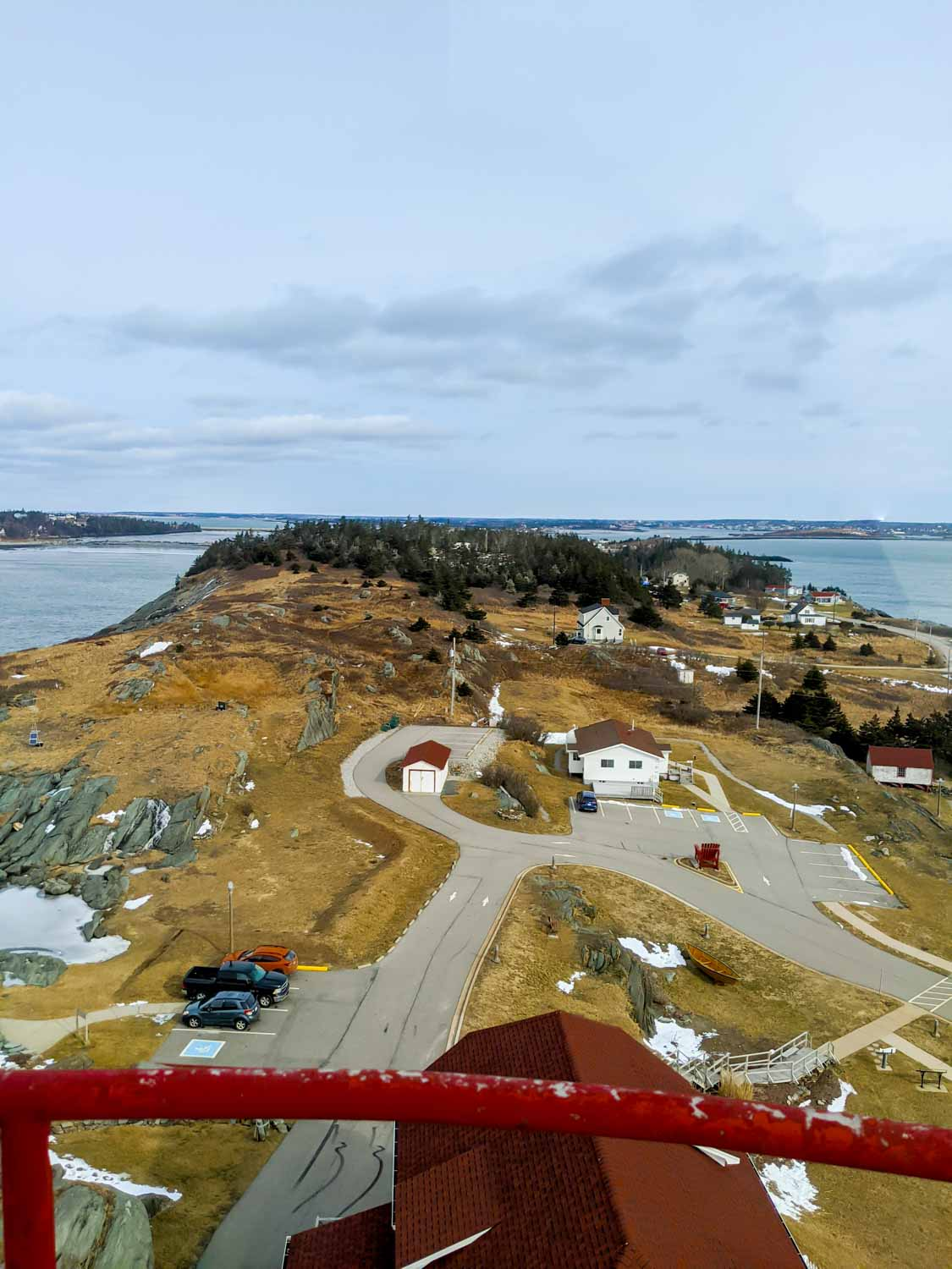 Cape Forchu lighthouse in Yarmouth NS view from top of lighthouse