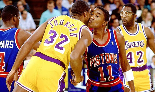 Image result for isiah thomas magic johnson 1988 finals kissing